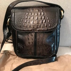 Leather croco stamped crossbody bag